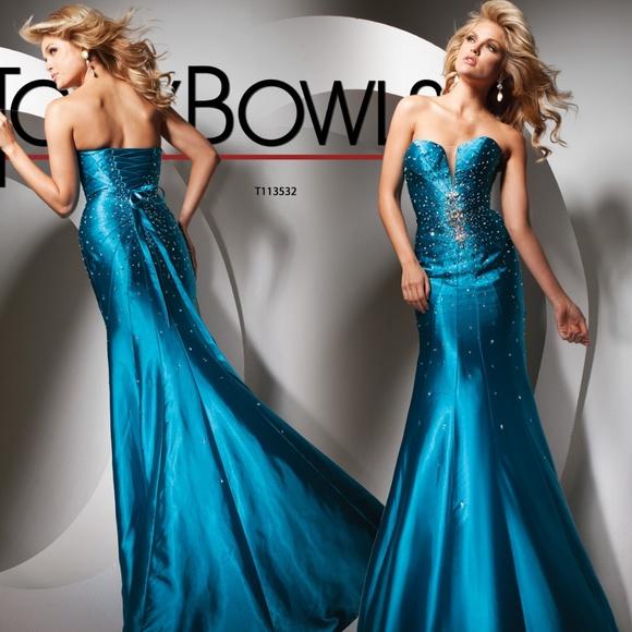 Tony Bowls Dresses   Teal Mermaid Tony Bowles Ballgown Size 10 12 ...